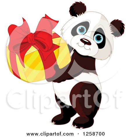 Clipart of a Cute Panda Holding a Birthday or Christmas Gift - Royalty Free Vector Illustration by Pushkin
