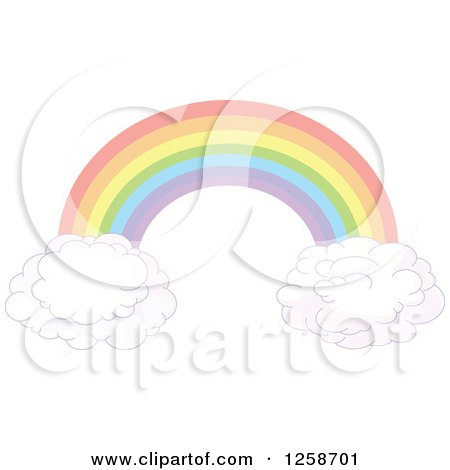 Clipart of a Floating Rainbow Arch and Clouds - Royalty Free Vector Illustration by Pushkin