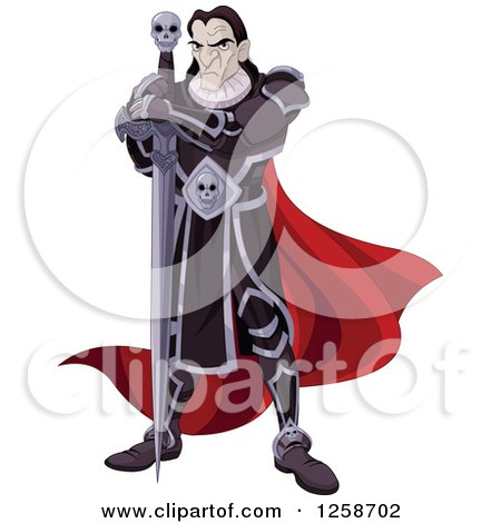 Clipart of an Evil Black Knight with a Skull Sword - Royalty Free Vector Illustration by Pushkin