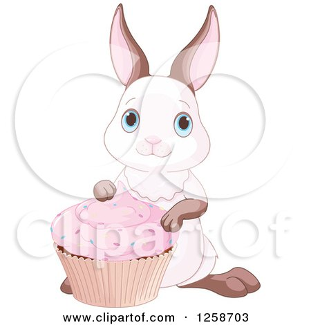 Clipart of a Cute Bunny Rabbit with a Pink Cupcake - Royalty Free Vector Illustration by Pushkin