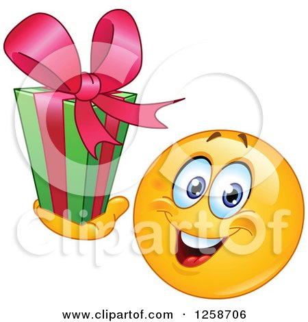 Clipart of a Yellow Smiley Emoticon Holding a Christmas Gift - Royalty Free Vector Illustration by yayayoyo