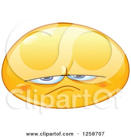 Clipart of a Grumpy or Upset Yellow Smiley Emoticon - Royalty Free Vector Illustration by yayayoyo