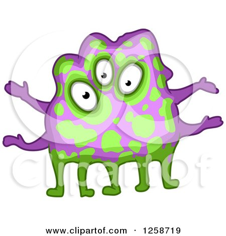 Clipart of a Purple and Green Monster - Royalty Free Vector Illustration by Vector Tradition SM