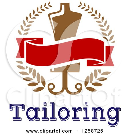 Clipart of a Tailoring Mannequin and Blank Banner in a Wreath over Text - Royalty Free Vector Illustration by Vector Tradition SM