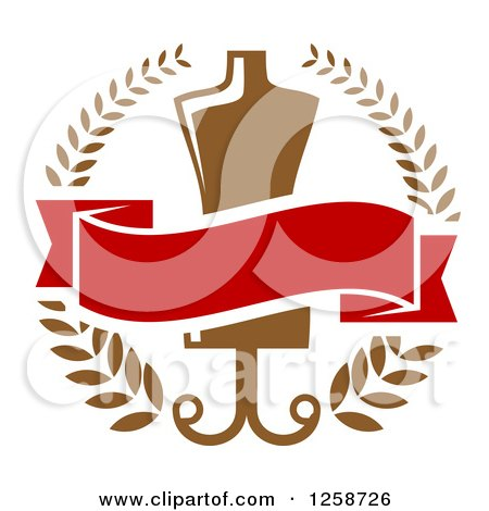 Clipart of a Tailoring Mannequin and Blank Banner in a Wreath - Royalty Free Vector Illustration by Vector Tradition SM