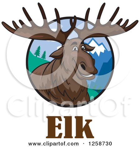 Clipart of a Smiling Elk in a Circle of Mountains over Text - Royalty Free Vector Illustration by Vector Tradition SM