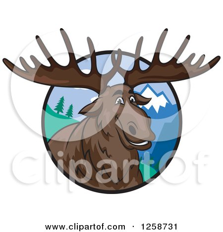 Clipart of a Smiling Elk in a Circle of Mountains - Royalty Free Vector Illustration by Vector Tradition SM