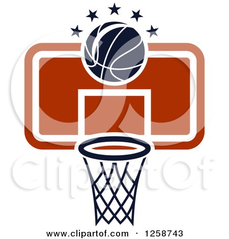 Clipart of a Basketball and a Hoop with Stars - Royalty Free Vector Illustration by Vector Tradition SM