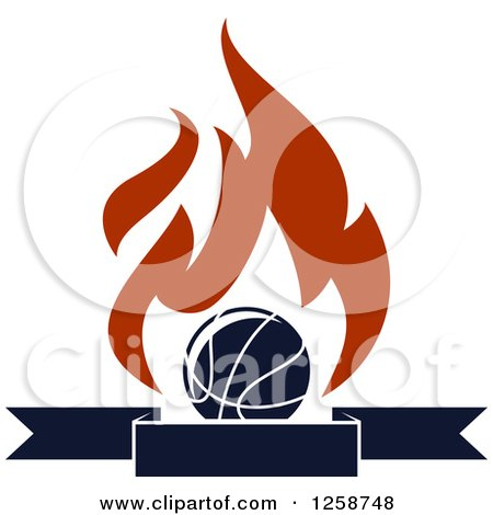 Clipart of a Basketball with Flames over a Banner - Royalty Free Vector Illustration by Vector Tradition SM