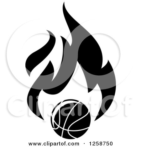 Clipart of a Black and White Basketball with Flames - Royalty Free Vector Illustration by Vector Tradition SM