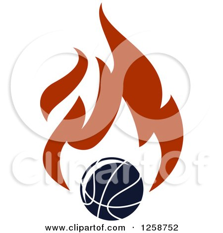 Clipart of a Basketball with Flames - Royalty Free Vector Illustration by Vector Tradition SM