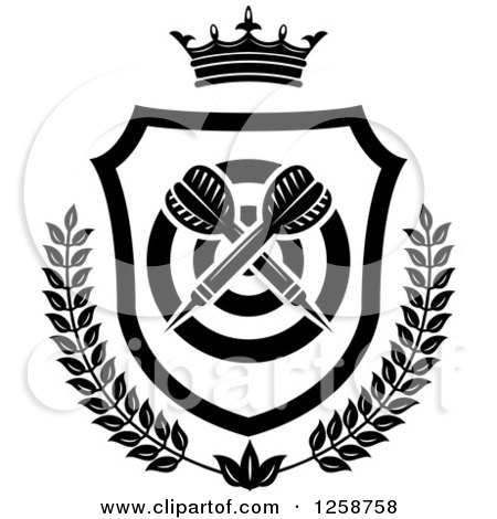 Clipart of Black and White Crossed Throwing Darts in a Crowned Shield with a Target and Wreath - Royalty Free Vector Illustration by Vector Tradition SM