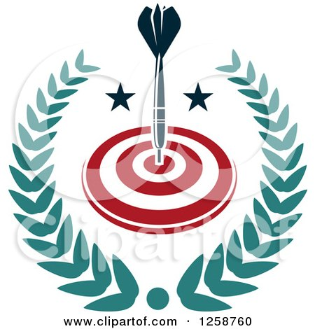 Clipart of a Throwing Dart in a Target and Leafy Wreath - Royalty Free Vector Illustration by Vector Tradition SM