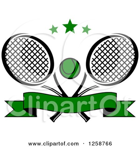 Clipart of Stars over Crossed Tennis Rackets and a Ball with a Banner - Royalty Free Vector Illustration by Vector Tradition SM