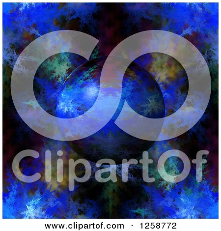Clipart of a 3d Blue Fractal Planet - Royalty Free Illustration by oboy