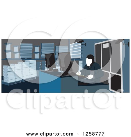 Clipart of a Warehouse Worker at a Desk - Royalty Free Vector Illustration by David Rey