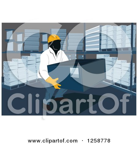 Clipart of a Worker Lifting a Box in a Warehouse - Royalty Free Vector Illustration by David Rey