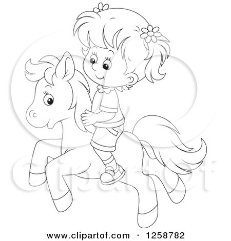 Clipart of a Black and White White Girl Riding a Pony - Royalty Free Vector Illustration by Alex Bannykh
