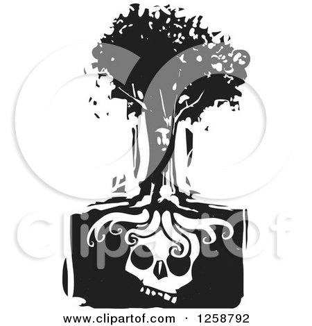 Black and White Woodcut Face in a Tree over a Skull Posters, Art Prints