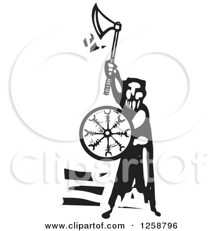Clipart of a Black and White Woodcut Man with an Axe and Shield - Royalty Free Vector Illustration by xunantunich