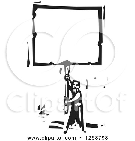 Clipart of a Black and White Woodcut Man Holding up a Blank Sign - Royalty Free Vector Illustration by xunantunich