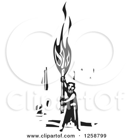 Clipart of a Black and White Woodcut Man Holding up a Torch - Royalty Free Vector Illustration by xunantunich