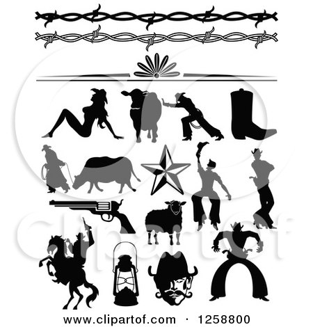 Clipart of Black Silhouetted Western Cowboys Cowgirls Borders and Accessories - Royalty Free Vector Illustration by Andy Nortnik