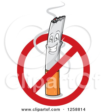 Clipart of a Happy Cigarette Character in a Restricted Sign - Royalty Free Vector Illustration by Vector Tradition SM