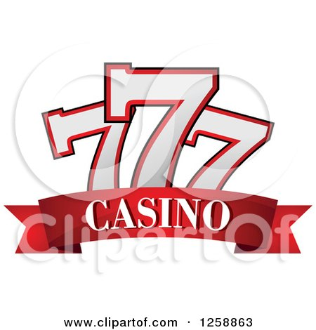 Clipart of a Triple Lucky Sevens over Casino Text - Royalty Free Vector Illustration by Vector Tradition SM