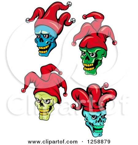 Clipart of Joker Faces in Red Hats - Royalty Free Vector Illustration by Vector Tradition SM