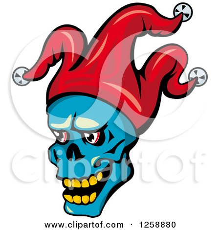 Clipart of a Blue Joker Face in a Red Hat - Royalty Free Vector Illustration by Vector Tradition SM