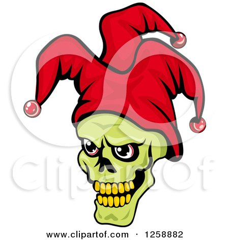 Clipart of a Green Joker Face in a Red Hat - Royalty Free Vector Illustration by Vector Tradition SM