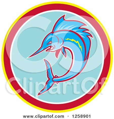 Clipart of a Swimming Marlin Fish in a Yellow Red White and Blue Circle - Royalty Free Vector Illustration by patrimonio