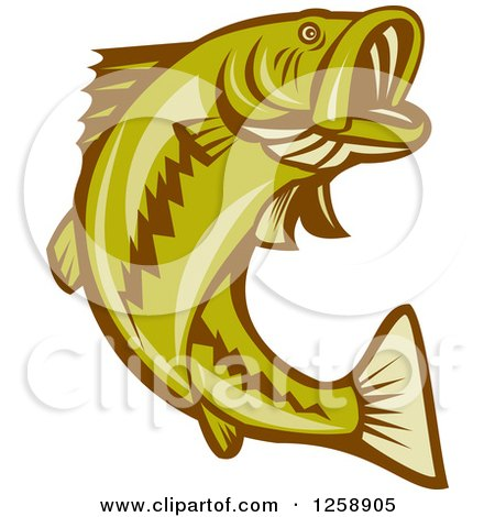 Clipart of a Retro Woodcut Largemouth Bass Fish Jumping - Royalty Free Vector Illustration by patrimonio