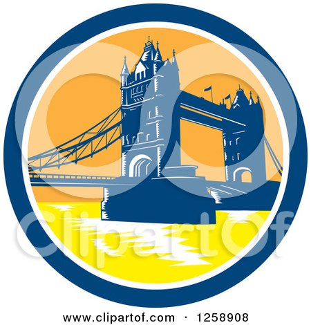 Clipart of a Woodcut of the London Tower Bridge in a ...