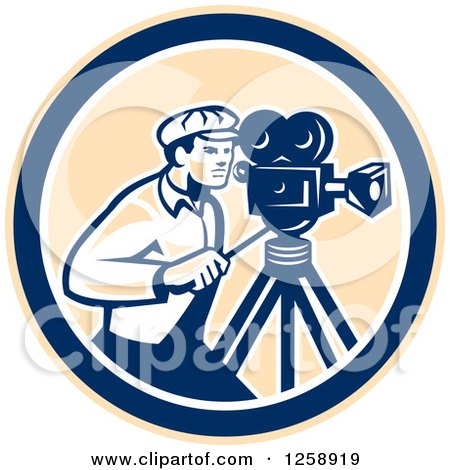 Clipart of a Retro Cameraman Filming in a Tan Blue and White Circle - Royalty Free Vector Illustration by patrimonio