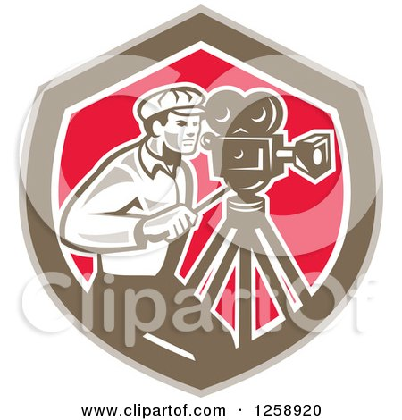 Clipart of a Retro Cameraman Filming in a Brown White and Pink Shield - Royalty Free Vector Illustration by patrimonio
