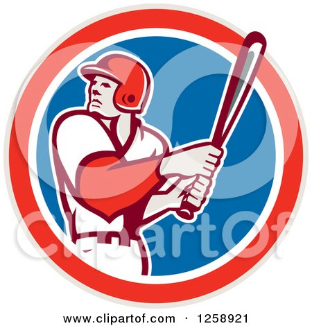Clipart of a Retro White Male Baseball Player Batting in a Red White and Blue Circle - Royalty Free Vector Illustration by patrimonio