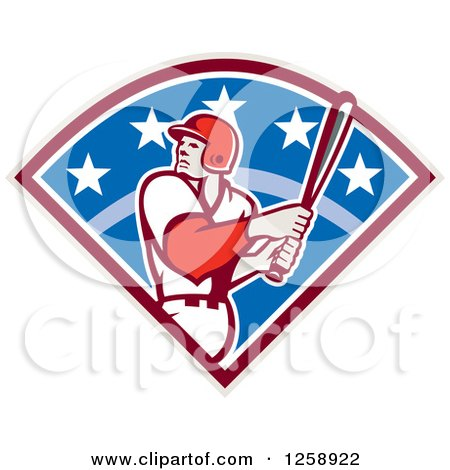 Clipart of a Retro White Male Baseball Player Batting in a Diamond - Royalty Free Vector Illustration by patrimonio