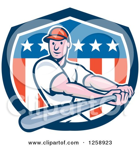 Clipart of a Cartoon White Male Baseball Player Batting over an American Flag Shield - Royalty Free Vector Illustration by patrimonio