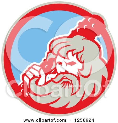 Clipart of a Retro Hercules Holding a Club in a Tan Red and Blue Circle - Royalty Free Vector Illustration by patrimonio