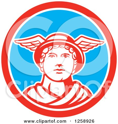 Clipart of Mercury in a Red White and Blue Circle - Royalty Free Vector Illustration by patrimonio