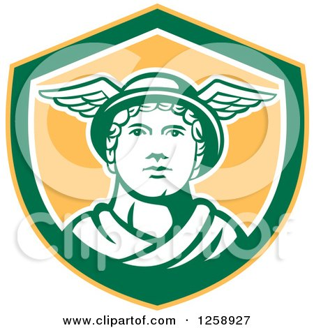 Clipart of Mercury in a Yellow Green and White Shield - Royalty Free Vector Illustration by patrimonio