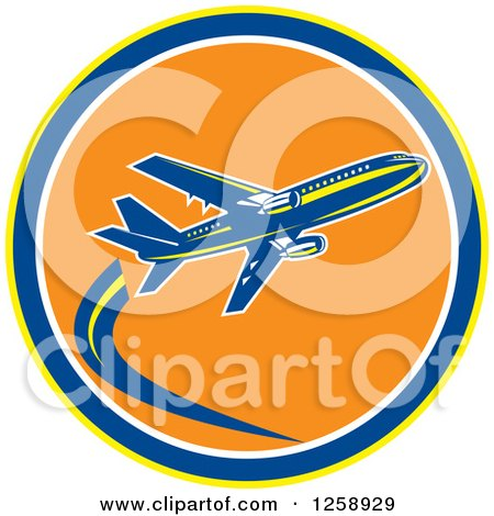 Clipart of a Retro Airplane in Flight Inside a Yellow Blue White and Orange Circle - Royalty Free Vector Illustration by patrimonio