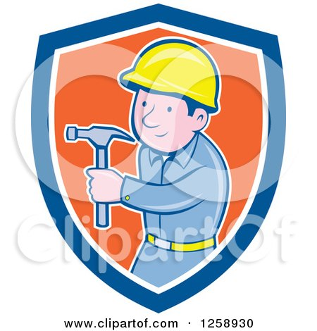 Clipart of a Cartoon Handyman or Carpenter with a Hammer in a Blue White and Orange Shield - Royalty Free Vector Illustration by patrimonio