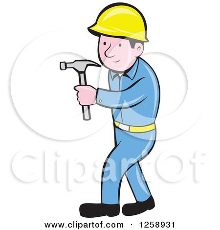 Clipart of a Cartoon Handyman or Carpenter with a Hammer - Royalty Free Vector Illustration by patrimonio