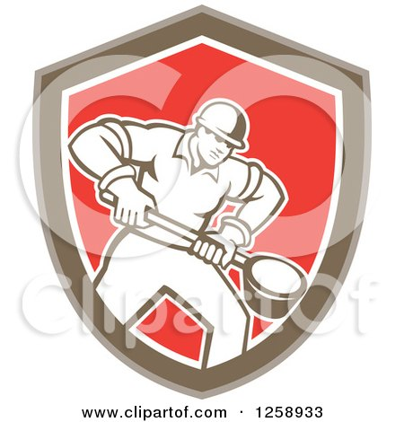 Clipart of a Retro Male Foundry Worker Holding a Ladle in a Brown White and Red Shield - Royalty Free Vector Illustration by patrimonio
