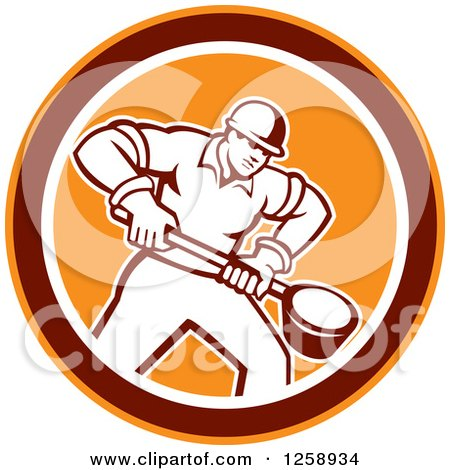 Clipart of a Retro Male Foundry Worker Holding a Ladle in an Orange Brown and White Circle - Royalty Free Vector Illustration by patrimonio