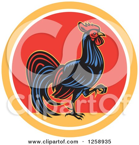 Clipart of a Retro Rooster Walking in a Yellow White and Red Circle - Royalty Free Vector Illustration by patrimonio