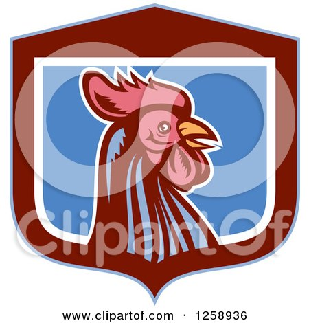 Clipart of a Retro Woodcut Rooster in a Blue Maroon and White Shield - Royalty Free Vector Illustration by patrimonio